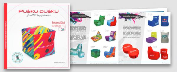 Pušku pušku bean bags with printed logos