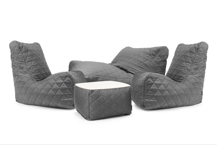 Sitzsack Set - Cheerful Quilted Nordic Grau