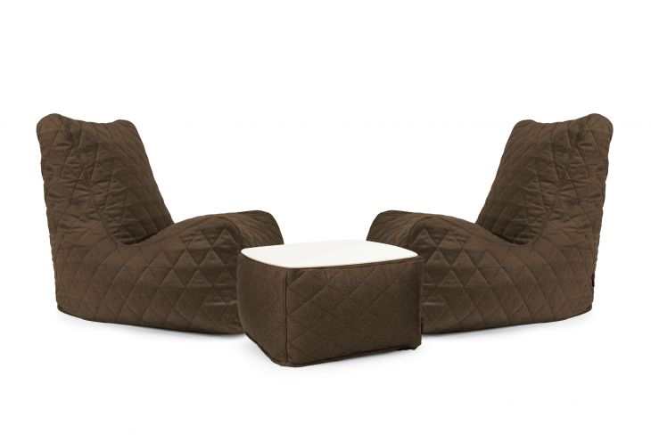 Un set di poltrone sacco Lucky Quilted Nordic Chocolate