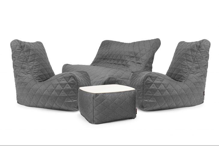 Sitzsack Set - Happy Quilted Nordic Grau