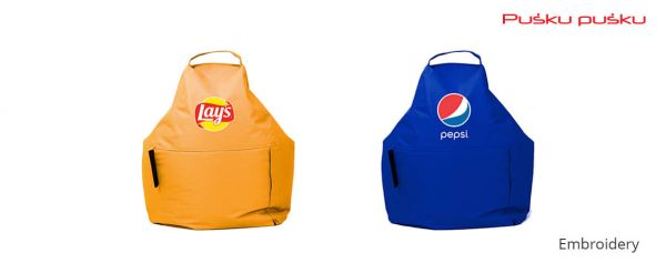 Embroidery on PEPSI, LAYS bean bag