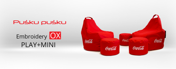 Embroidery on COCA COLA bean bag