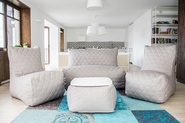 Sitzsack Set: Sofa Seat, Sessel Seat, Soft Table 60, Nordic quilted.